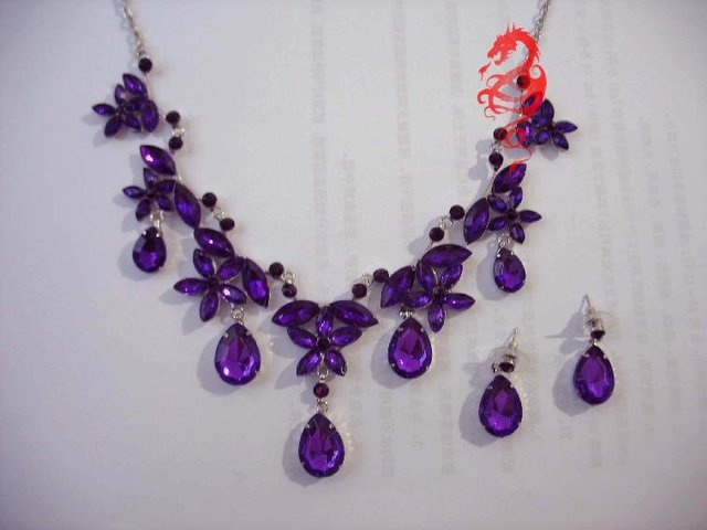Wedding/Bridal Purple crystal necklace earrings set S0811 + Gift&Free shipping