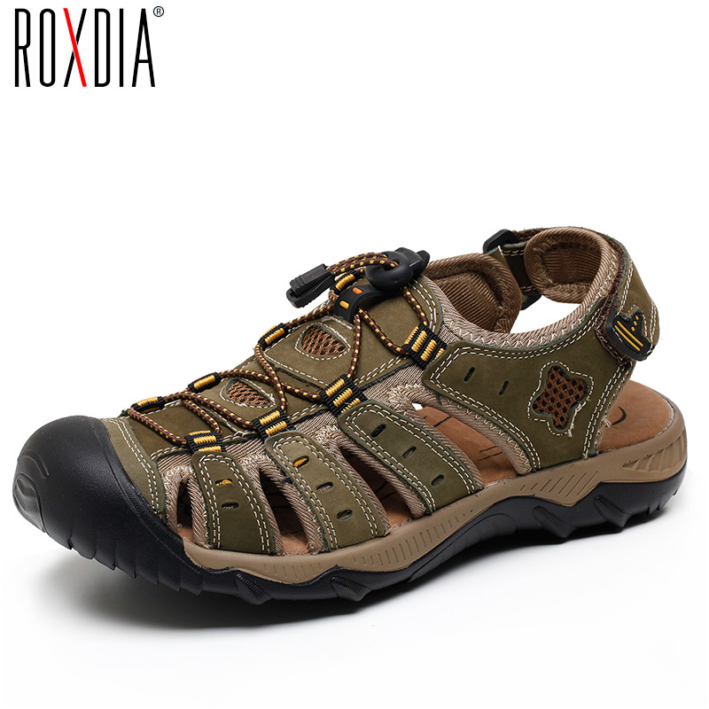 ROXDIA New Fashion Summer Beach Breathable Men Sandals Genuine Leather Men's Sandal Man Causal Shoes Plus Size 39-48 RXM007 2016 summer men sandal sale medium b m back strap shoes melissa genuine leather sandals new men s beach shoes free shipping