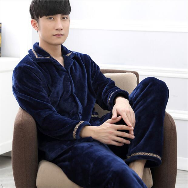 Pijama masculino Pajama Sets men Winter thick  2016