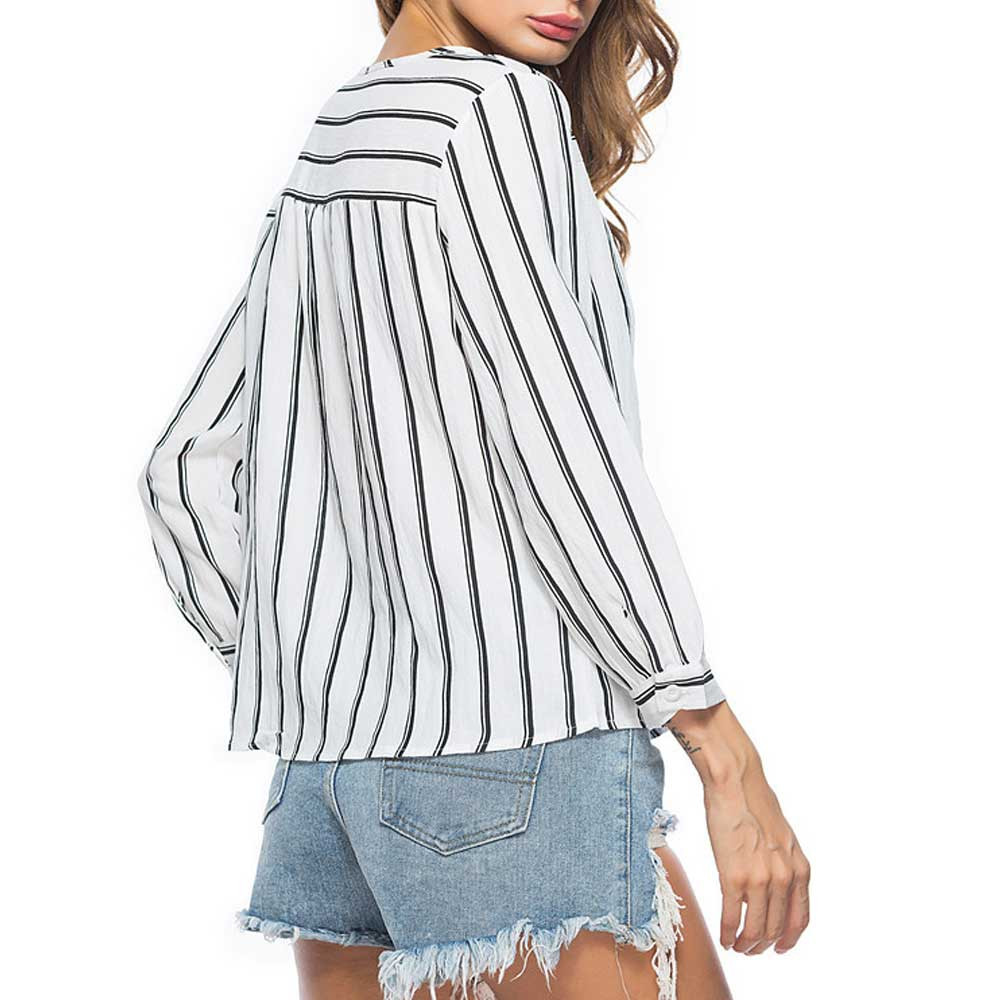 ChamsGend 2017 New Fashion Ladies Autumn And Winter Long Sleeves O-Collar With Striped T-shirt Master Designer Dropship 170905