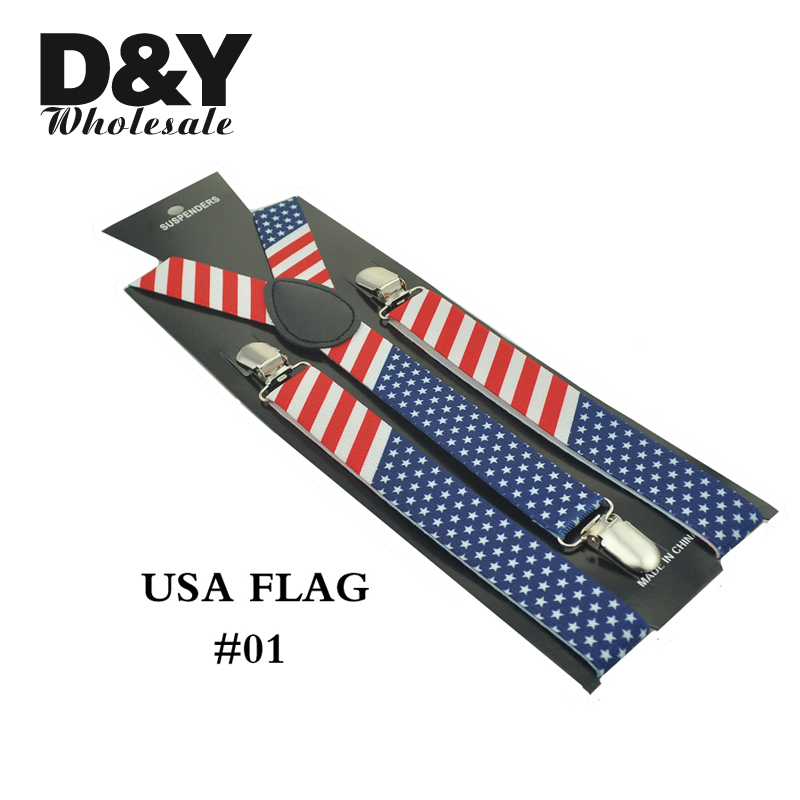 Women MenS Shirt Suspenders For Trousers Pants Holder 1 Inch Wide USA American Flag Mix Clip-on Braces Elastic Slim Y-back Strap