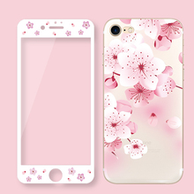 Flower Tempered Glass Screen Protector For iPhone 7 Plus 3D Curved Edge Cartoon Floral Phone Cases For iPhone 6 6s Plus 8 SG72