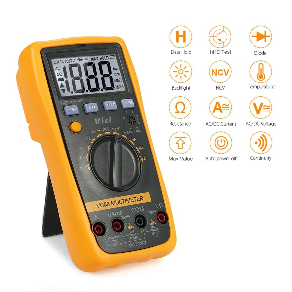 Auto Range Digital Multimeter VC86 3 1/2 1000V DMM Temperature Meter w/NCV hFE Test & LCD Backlight Multimetro Tester E2813H52