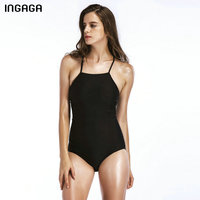INGAGA 2018 Summer One Piece Swimsuit Female Lace Up Swimwear Women Sexy Striped Floral Printed Halter