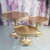 3 pcs Gold cake stand set metal iron crystal wedding party decoration supplier baking cake accessory tools