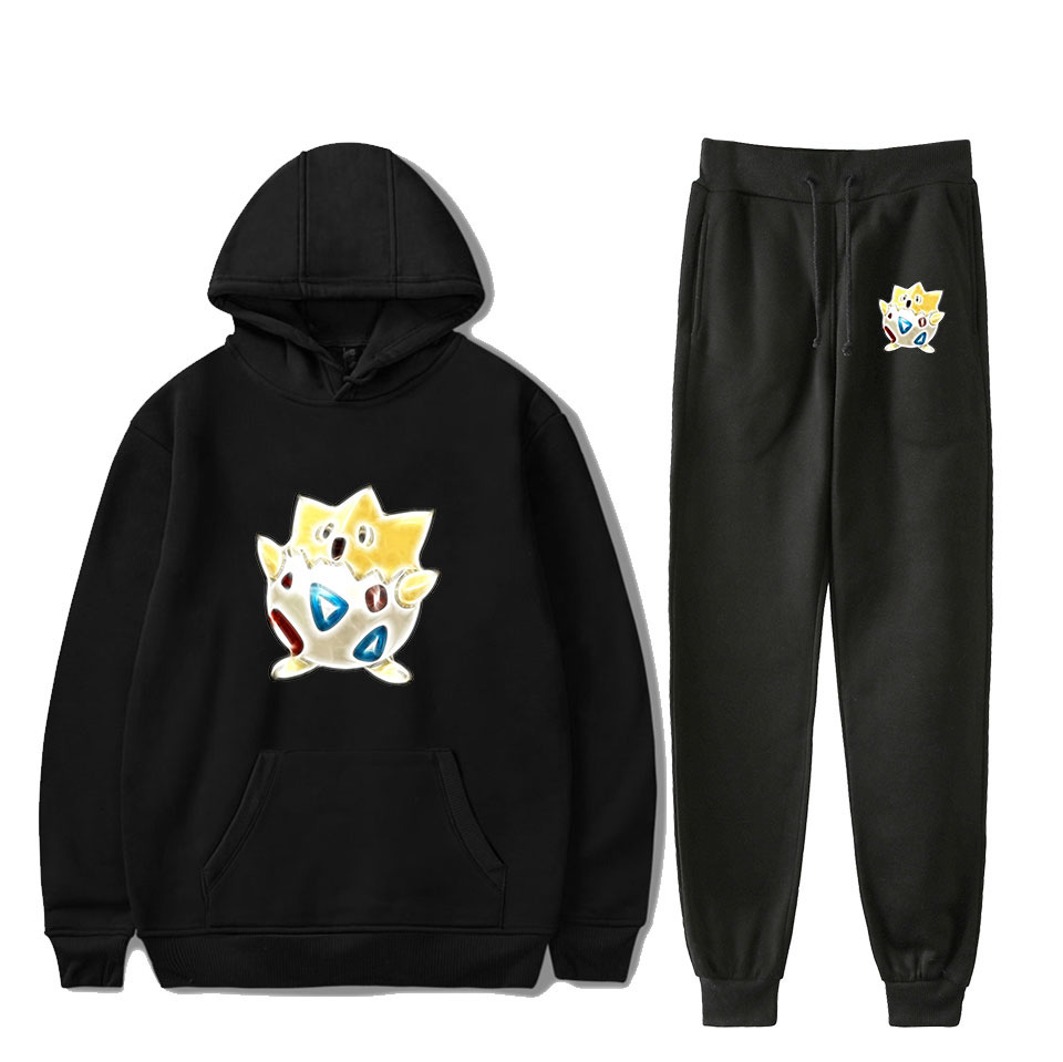 The Newest Print Pokemon Pikachu Cartoon Black Hooded Sweatshirt +casual Sweatpants Men/women Autumn Pokemon Pikachu Sports Suit