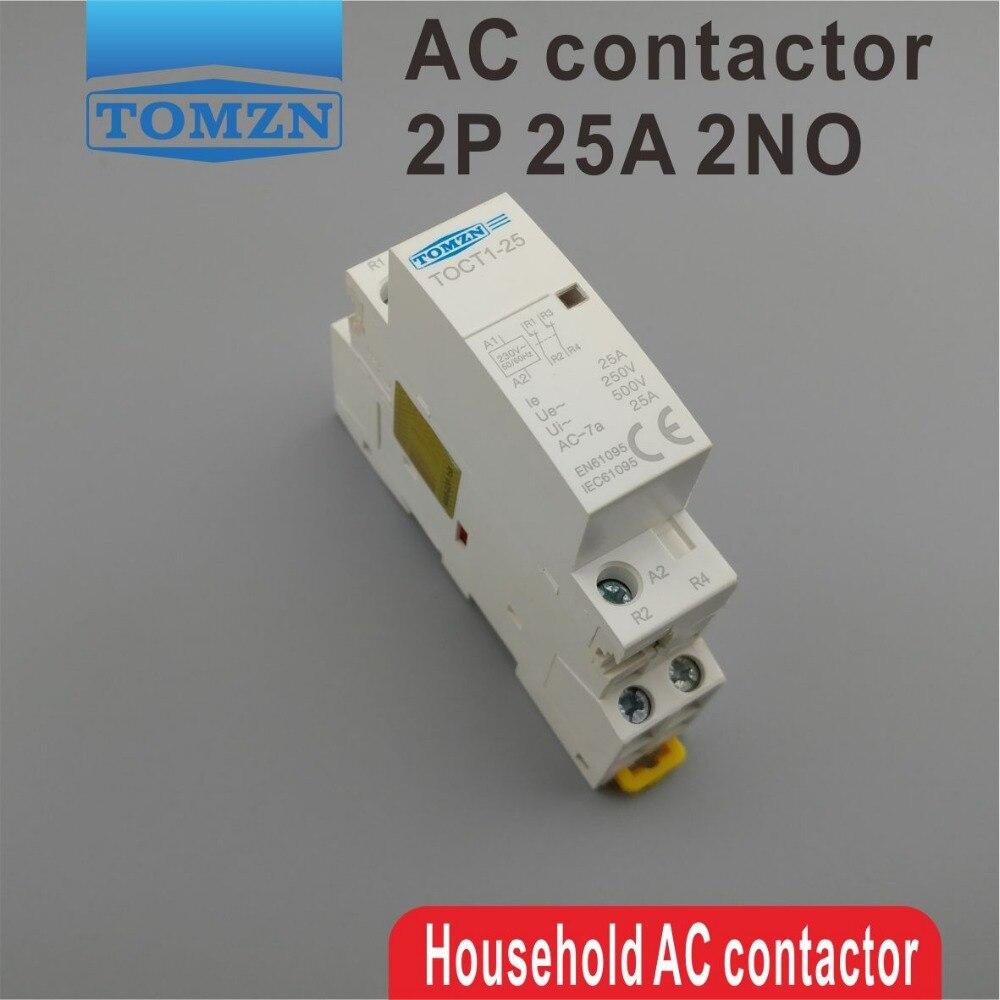 1 pcs TOCT1 2 p 25A 220 v/230 v 50/60 hz Din rail ac Domestique Modulaire contacteur 2NO