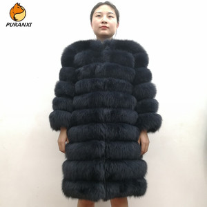 Image 1 - 100% Natural Real Fox Fur Coat Women Winter Genuine Vest Waistcoat Thick Warm Long Jacket With Sleeve Outwear Overcoat plus size