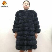 100% natural real raposa casaco de pele das mulheres inverno genuíno colete grosso quente longo jaqueta com manga outwear casaco plus size