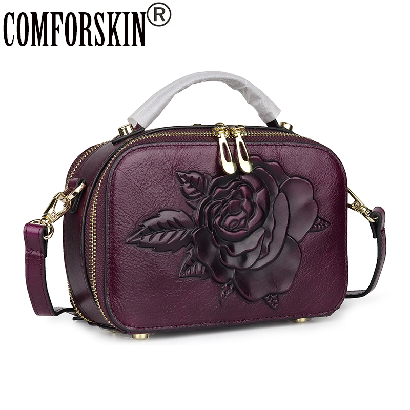 COMFORSKIN Luxurious Cowhide Leather Women Totes New Arrivals Vintage Embossed Rose Messenger Bag Large Capacity Cross-body BagsCOMFORSKIN Luxurious Cowhide Leather Women Totes New Arrivals Vintage Embossed Rose Messenger Bag Large Capacity Cross-body Bags