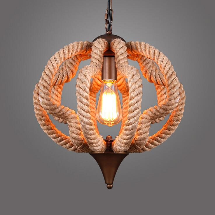 Loft American Village Personality Creative Restaurant Chandelier Bar Clothing Store Iron Vintage Rope Chandelier Free Shipping the cafe shop vintage clothing store small chandelier bar loft iron chandelier geometry character