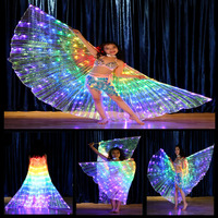 Colorful LED Luminous Kids Cloak Light Up Butterfly Wings Illuminated Led Lighting Belly Dance Party Stage Props wing with Stick