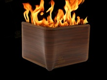 Close-up is Luxury high quality wallet out of The fire magic props close shot stage