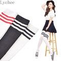 1 Пара Японский Лолита Стиль 3 Полосы Студент Школы Хлопчатобумажные носки Бедра Длинные Sockings Для Студентов Девушки Женщины