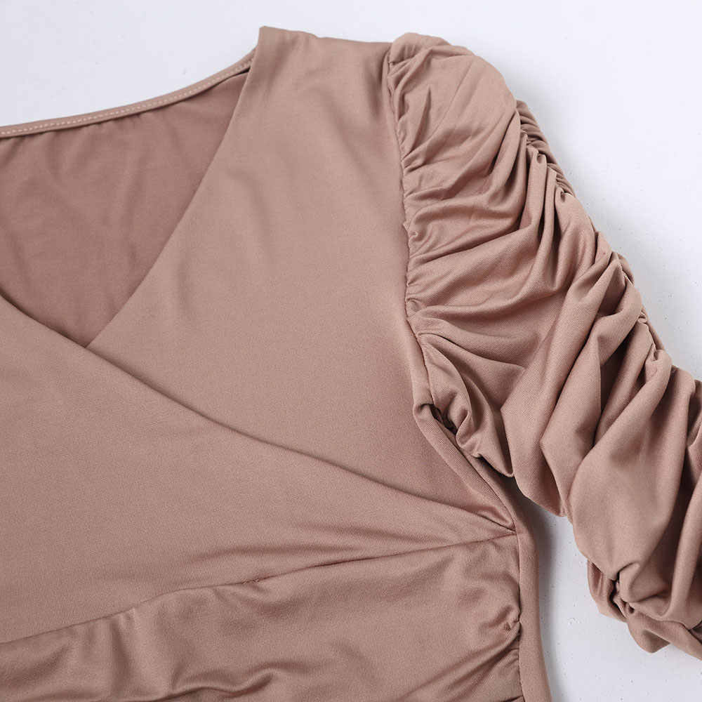 Vrouwen Sexy Jurk Diepe V-hals Plooien Lange Mouwen Elegant Party Dress Office Slim Werk Kleding Big Size 2018 Luxe paars S-2XL