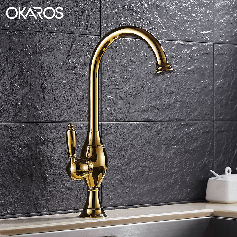 OKAROS Basin Faucet Kitchen Faucet Chrome/Gold 360 Degree Rotation Single Handle Vessel Sink Hot Cold Water Tap Mixer Torneira OKAROS Basin Faucet Kitchen Faucet Chrome/Gold 360 Degree Rotation Single Handle Vessel Sink Hot Cold Water Tap Mixer Torneira