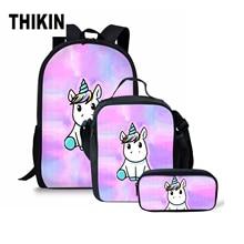 THIKIN Cartoon Unicorn Print Girl School Backpack Children Schoolbag Kid Bag Cute Animal Custom for Teenagers Bookbag