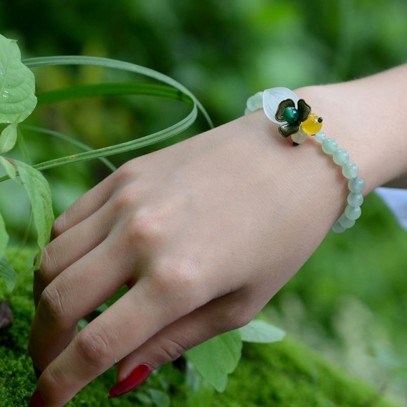 fashion 2018 cute wrap charm Bracelets for women aventurine beads white stone leaf copper flower decoration handmade jewelry