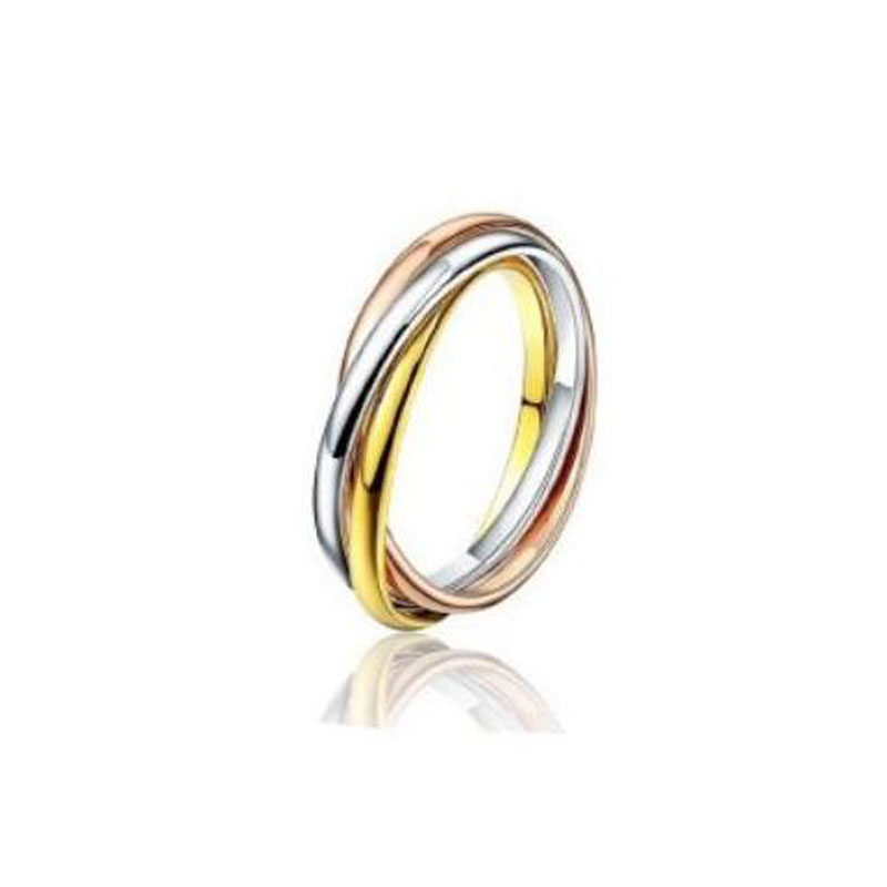 Never Fade 3 colors Brife CZ couple rings for love gold wedding engagement rings vintage men women stainless steel jewelry