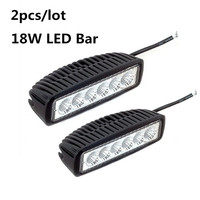 2pcs 18W LED Bar Work Light Barra Led 12V 6 Spotlight Flood Lamp Driving Fog Light