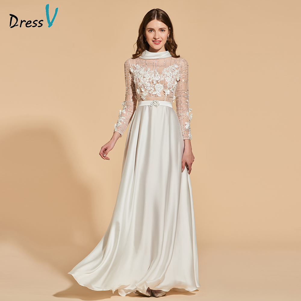 Dressv elegant long   prom     dress   high neck long sleeves beading bowknot button lace evening party gown   prom     dresses   customize