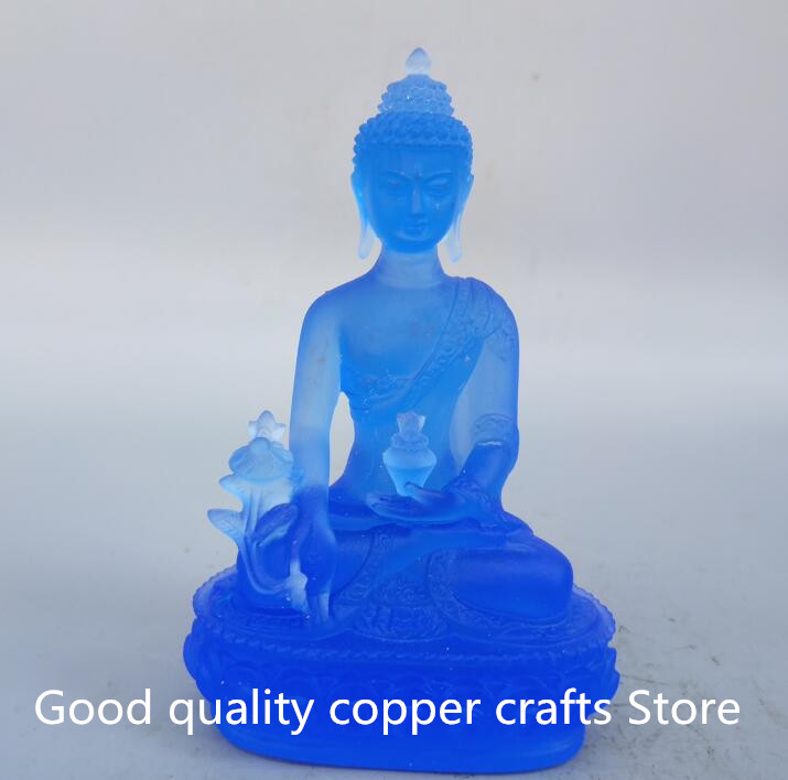 Tibetan Buddhism Blue The Coloured Glaze Medicine Buddha Statue