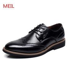 2018 Men leather Shoes Genuine Leather Bullock Flats wedding Shoes Men Fashion formal Dress Shoes For Men Oxfords big size 48