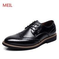 2018 Men Leather Shoes Genuine Leather Bullock Flats Wedding Shoes Men Fashion Formal Dress Shoes For