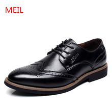 2018 Men leather Shoes Genuine Leather Bullock Flats wedding Fashion formal Dress For Oxfords big size 48