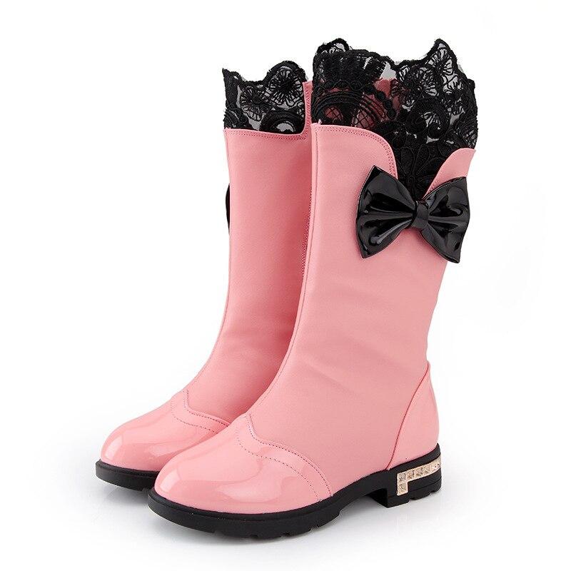 3196ac2b0 SKOEX niños del Bowknot de la muchacha impermeable lluvia nieve niños Botas  de princesa PU Casual Botas Ninas para niño pequeño  niño grande en Botas  de ...