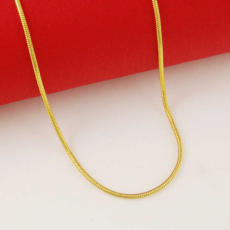High Quality 24K Gold Filled Solid Necklace Snake Chains Link Necklaces Female Accessories Fashion Jewelry 2019