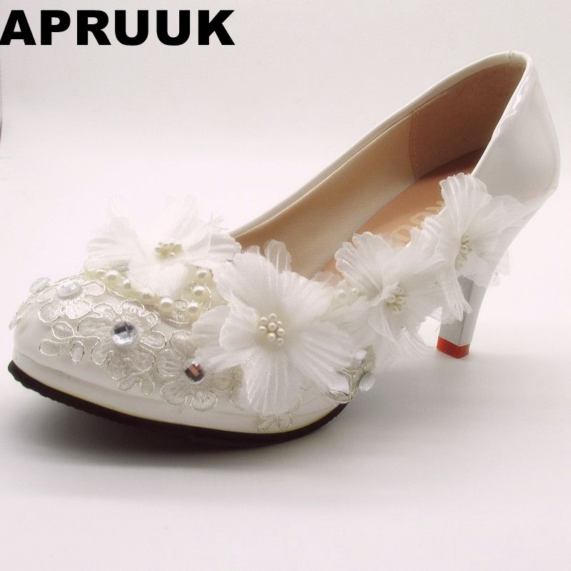 b642a3b126e Handmade Lace White Wedding Shoes Women Plus Large Sizes Round Toes