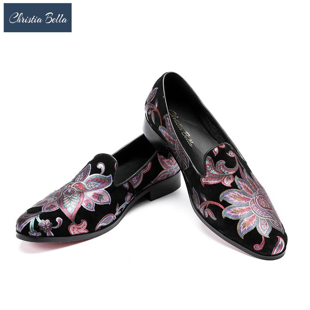 купить Christia Bella Men's Fashion Italian Luxury Floral Men Loafers Casual Genuine Leather Men Flats Designer Shoes Plus Size 38-47 по цене 6731.75 рублей