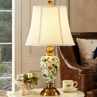 Classical Pastoral European Hand Painted Ceramic Fabric Led E27 Table Lamp For Living Room Bedroom Study H 45/55cm 80 265v 1277