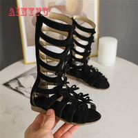 Meninas sandálias de fundo macio pequena princesa sapatos de verão novas crianças altas sapatos romanos bebê princesa peep toe sapatos de praia a607|Sandálias| |  -
