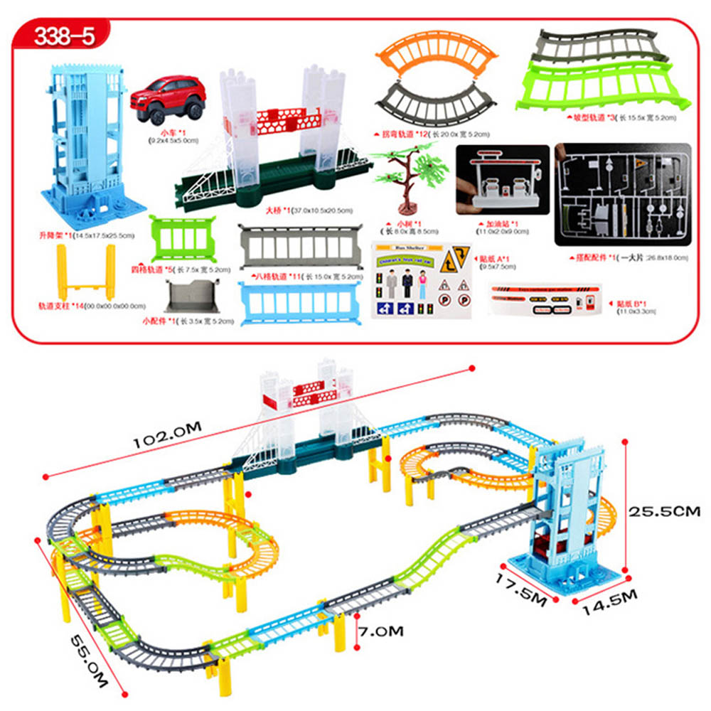 DIY Variety 3D Electric Rail Speed Car Train Model Track Racing Simulation Car Fun Assembly Toy Birthday Gift For Kids Boys