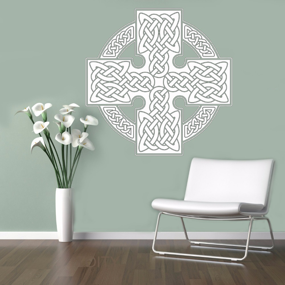 Celts Cross Wall Vinyl Sticker Ornament Decor Pattern Decal Home Interior Bedroom Scandinavian Design Mural