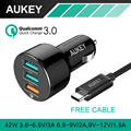 AUKEY Para Qualcomm Cargador Rápido 3.0 con Cable USB de 3 Puertos mini usb cargador de coche para ipad samsung htc iphone 7 qc2.0 Compatible