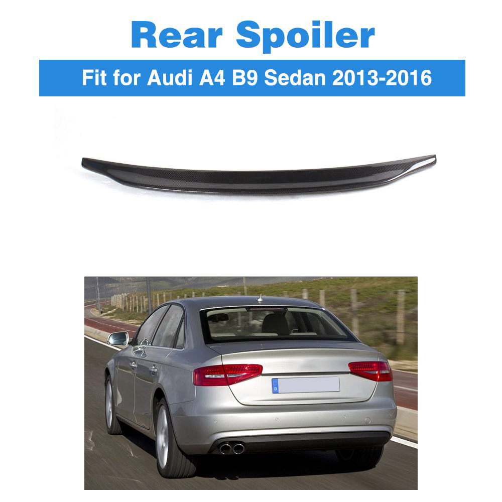 Carbon Fiber Rear Trunk Sticker Boot Lip Spoiler Wing For Audi A4 B9 Sedan 2013-2016 Car StylingCarbon Fiber Rear Trunk Sticker Boot Lip Spoiler Wing For Audi A4 B9 Sedan 2013-2016 Car Styling