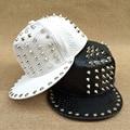 Bigbang Street Jazz Hat Spike Studs Tivet Punk Rock Hip Hop Adult PU Leather Baseball Hat Casquette For Men Women