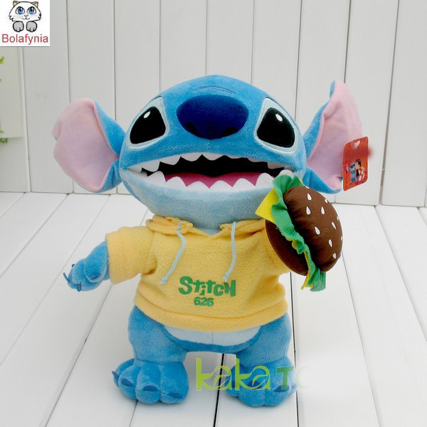 Children Stuffed Toy stitch with yellow coat kids doll plush toy baby toys birthday gift eat hamburger patterson james i funny