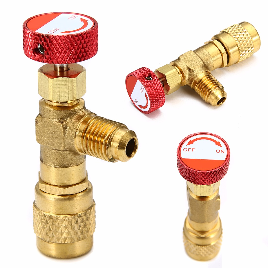 R410A Copper Flow Control Valve With Red Knob For Refrigerant Charging Hose Practical Charging ValveR410A Copper Flow Control Valve With Red Knob For Refrigerant Charging Hose Practical Charging Valve