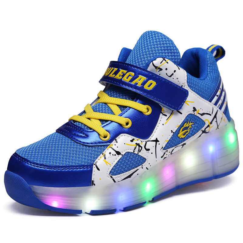 Breathable Single Wheel Glowing Boys Girls Roller Skates Sneakers LED Light Shoes Little Kids/Big Kids Flashing Board 30-39 glowing sneakers usb charging shoes lights up colorful led kids luminous sneakers glowing sneakers black led shoes for boys
