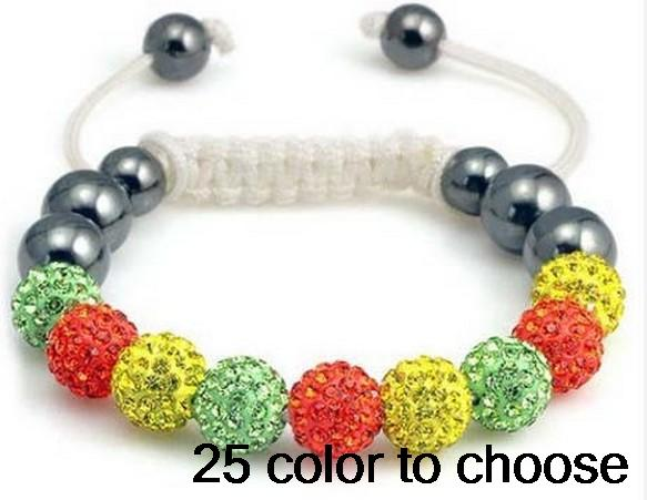10mm wholesale fashion ab clay mixed Colors handmade Available big promotion new Beads crystal shamballa braclelet
