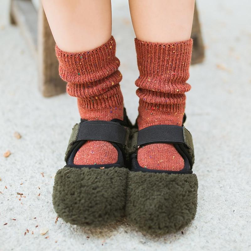 New Fall Winter Baby Boy Girls Long Socks Fashion Kids Toddler Girl Wool Short Socks Solid Color Z124