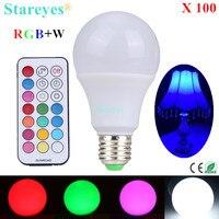 Бесплатная Доставка 100 шт. E27 10 Вт RGB + W Светодиодный лампочки RGB белый светодиодный настольная лампа светильник droplight освещение с пульта дист...