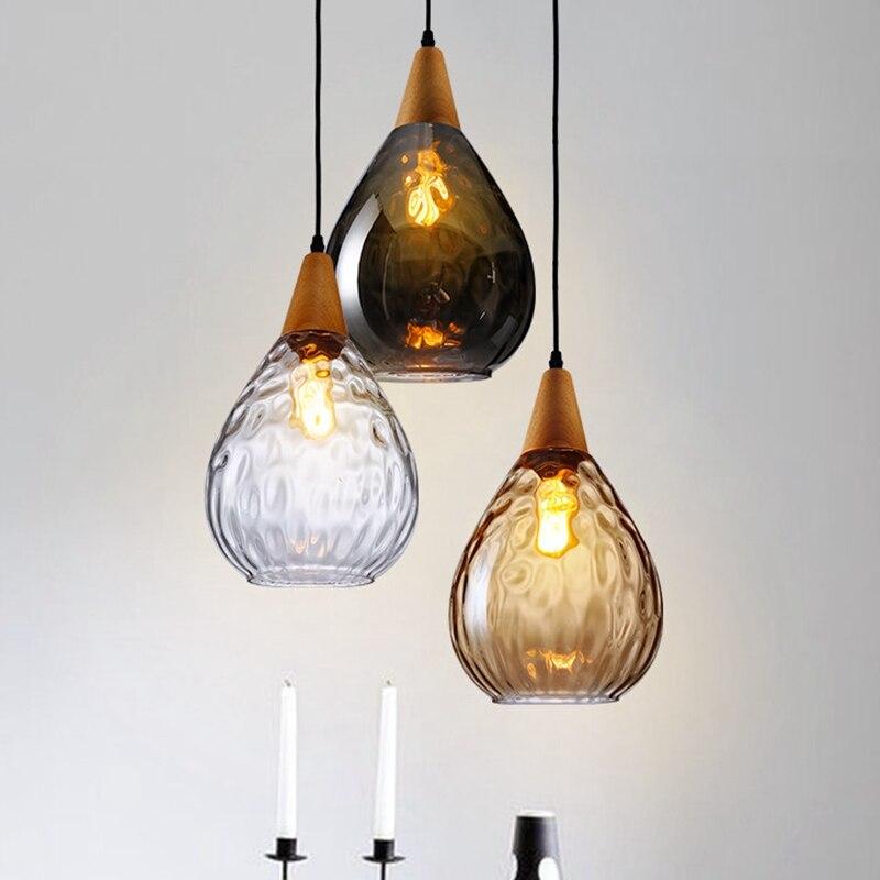 LukLoy Moderne LED Pendentif Lumières Goutte D'eau En Verre Bois Loft Pendentif Lampe Plafond pour Loft Îlot De Cuisine Café Bar À Manger chambre