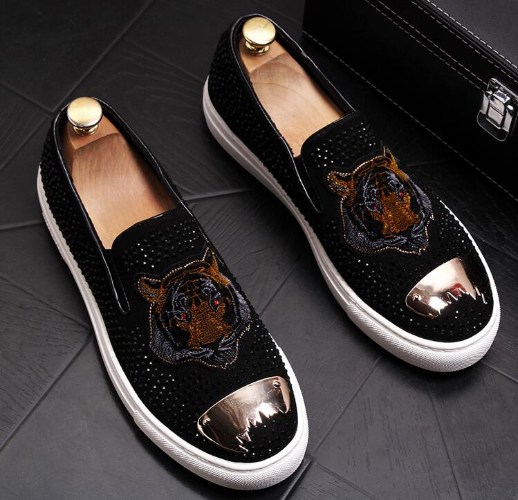 Fashion Men bees Embroidery sheet metal Trendy Casual thick bottom platform Shoes Male wedding Dress Prom moccasins loafer 6