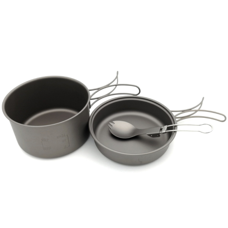 Nouvelle vente casseroles en titane bols avec poignée pliante cuisinière Camping randonnée pique-nique ustensiles de cuisine avec cuillère en titane