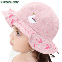 Fashion Baby Sun Hat with Cute Swan Kids Girls Spring Autumn Summer Caps Infant Toddlers Hats